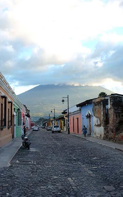 View of volcano from Antigua, Guatemala