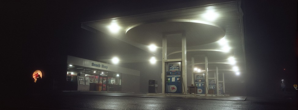 Fog at a gas station, New Zealand